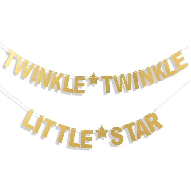 FunPa Party Brief Banner Papier Twinkle Twinkle Little Star Patroon Party Banner Glitter Banner Voor Baby Shower Party Decor Nieuwe 1