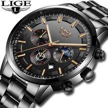 Relogio Masculino LUIK Heren Horloges Topmerk Luxe Klok Mannen Alle Stalen Quartz Horloge Mannen Waterdichte Sport Chronograaf + doos