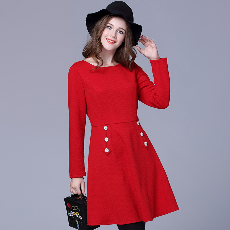 2017 new design women A line red dress plus size fashion buttons women spring autumn casual
