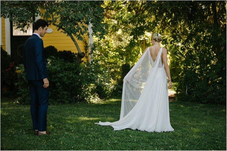 Chapel Chiffon Bridal Cape, Wedding Cape, Cape Veil, Shoulder Cape In White , Ivory