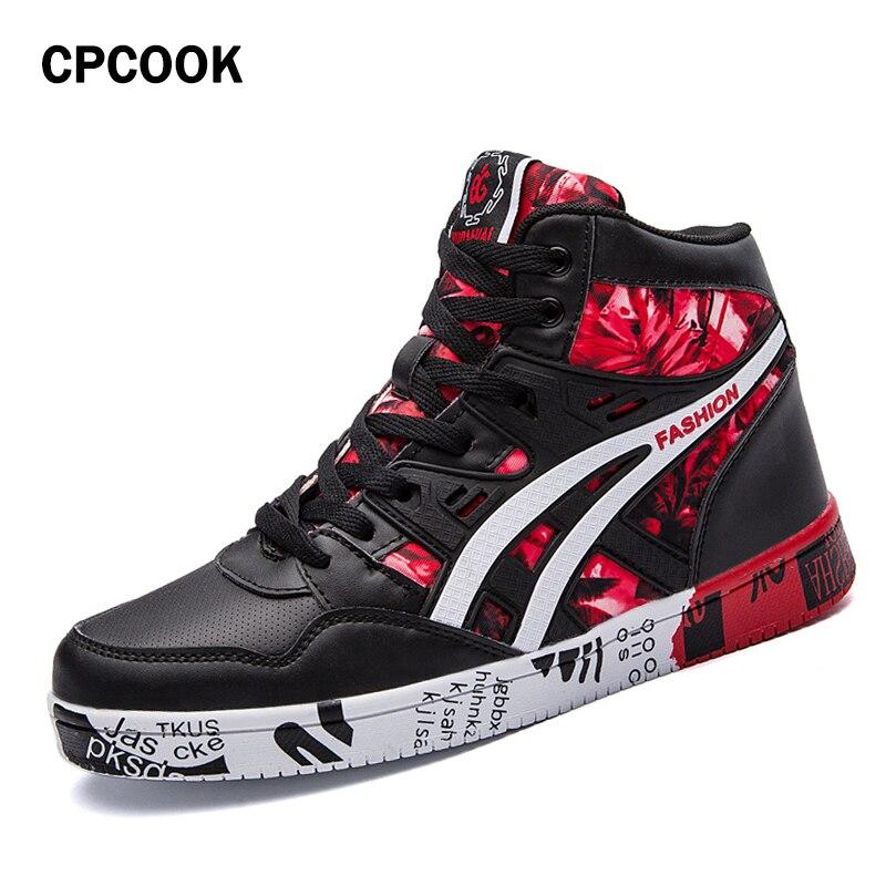 CPCOOK 2018 Men Skateboard Shoes Autumn Hip Hop Leather Sneakers Men Lace-up Athletic Sport Shoes Zapatillas Hombre Deportiva