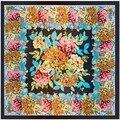 2017 New Arrival 90cm*90cm Square Warp Knitting Femme Scarves Hook Flower Floral Jacquard Weave Pashmina Scarf Women Cover-ups