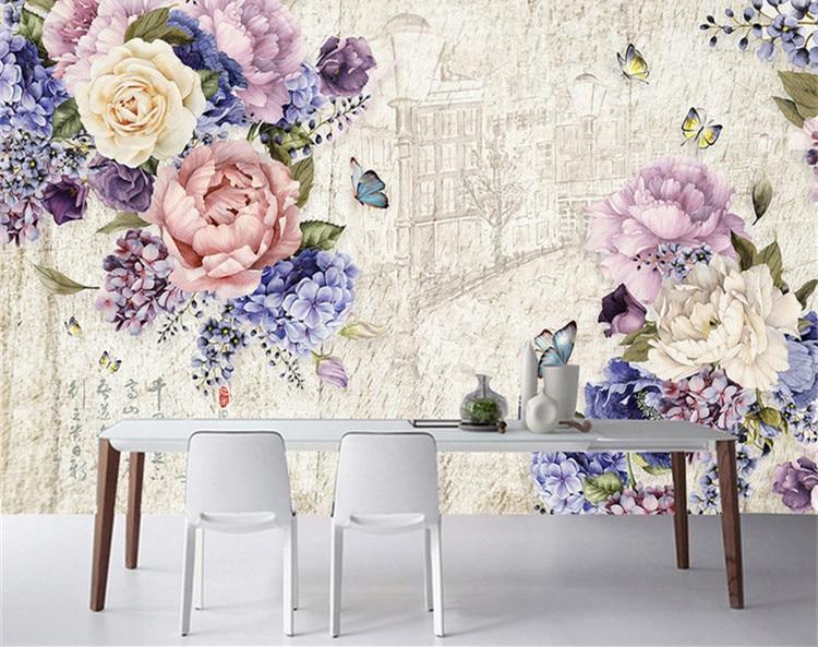 Custom Mural European 3D Three-dimensional Oil Painting Flowers Retro Wallpaper Bedroom Living Room TV Background Wall Paper