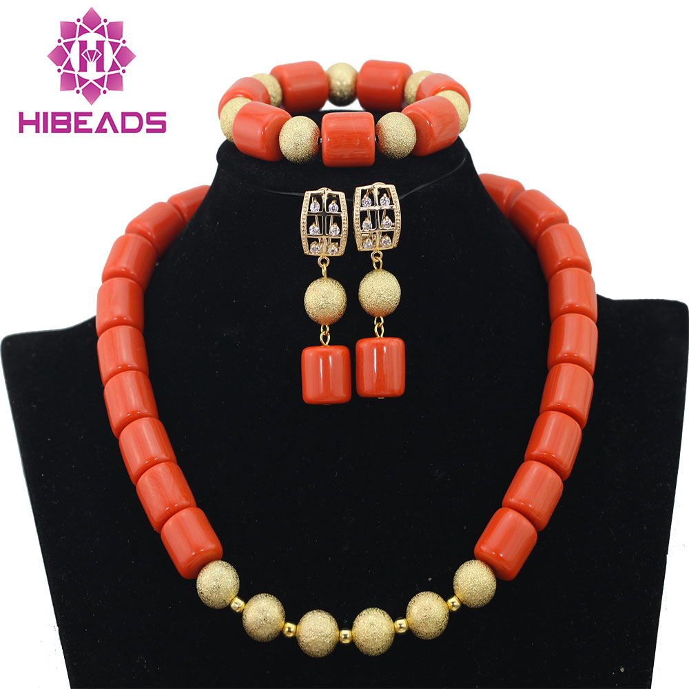 Pretty African Wedding Jewelry Set Orange Coral Beads Necklace Set Nigerian Beaded Necklace Jewelry Set Free Shipping Set CG006 set