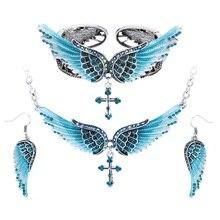 Крыло ангела крест ожерелье серьги браслет Комплекты Женские байкерские Jewelry подарки на день рождения женские ее подруга дропшиппинг SBENC01