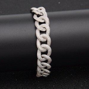 Image 4 - Hip hop aaa zircão pavimentado bling iced para fora cz pulseiras cor de prata preto cubano miami link corrente charme jóias transporte da gota