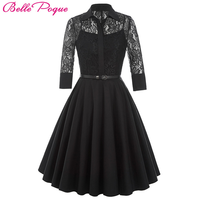 Belle Poque Women Dress Summer 3 4 Sleeve Lace Tunic Work Office 50s  Vintage Dresses Clothes 2018 Black Sexy Club Party Dresses 04969f15713c
