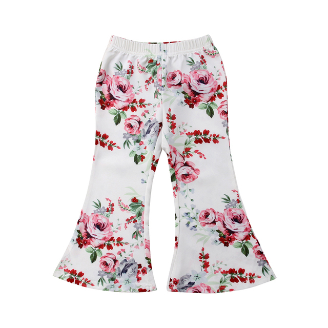 3a412521cdbe 2-7Y Toddler Kids Baby Girl Floral Flared Pant High Waist Bell-bottom  Trouser