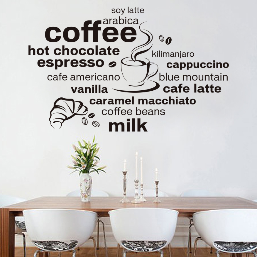Creative English Coffee Quotes Wall Sticker Home Decor