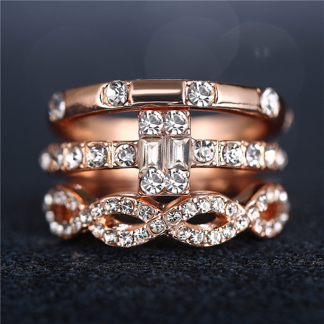 3Pcs/Set Crystal Rings 2