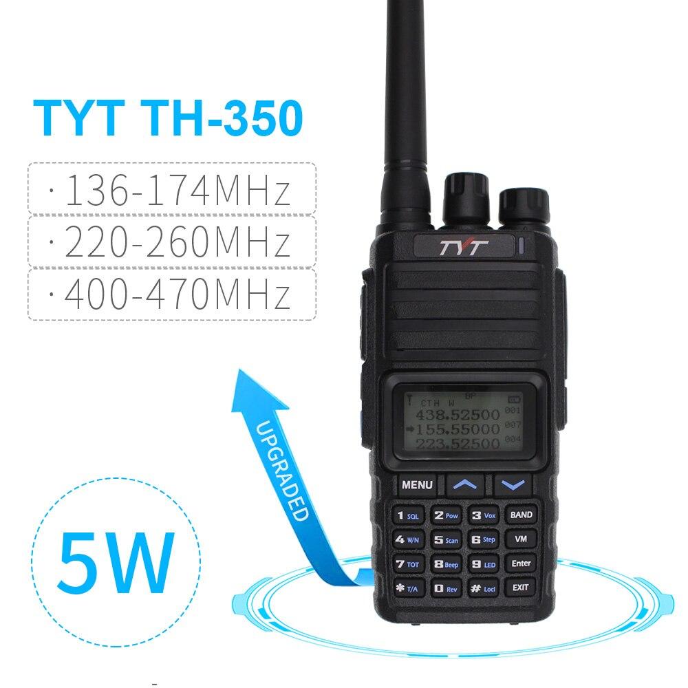 NEW TYT TH-350 Walkie Talkie Tri Band 136-174MHz 220-260MHz 400-470MHz Tri Display 5W High Quality Two Way Radio FM Transceiver