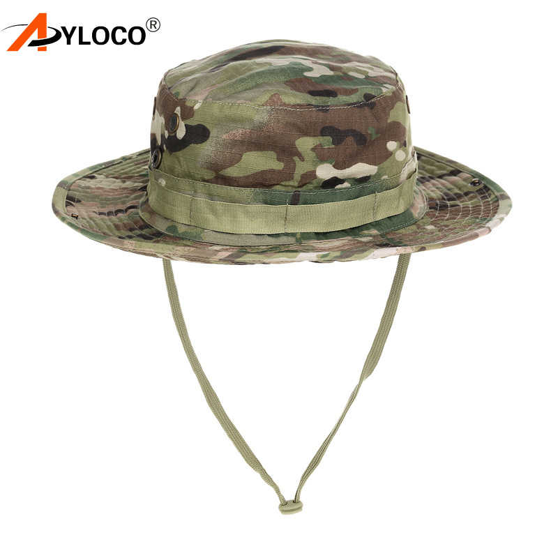 d4776ee099043 Tactical Airsoft Sniper Camouflage Bucket Cap Military Boonie Hats Nepalese  Cap Army Mens US Military Sun