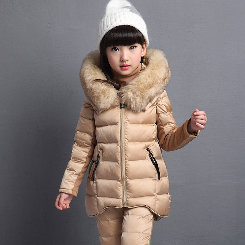 2017 Jackets set Girls Winter Cotton Padded Fur Hooded Kids Children Clothing Parkas Girl Thicker Vest Coat +sweater+pants Suits free shipping new arrival winter fashion children clothing set leisure 100% sweater pants vest girl suit