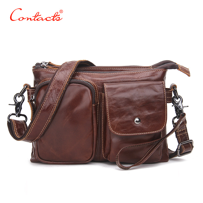 CONTACT'S Vintage Men Messenger Bags High Quality Flexible Leather Genuine Large Travel Capacity Men Bags Dollar Price Messenger iceinnight vintage men messenger bags high quality soft pu leather solid hand bags large capacity travel bags handsome man