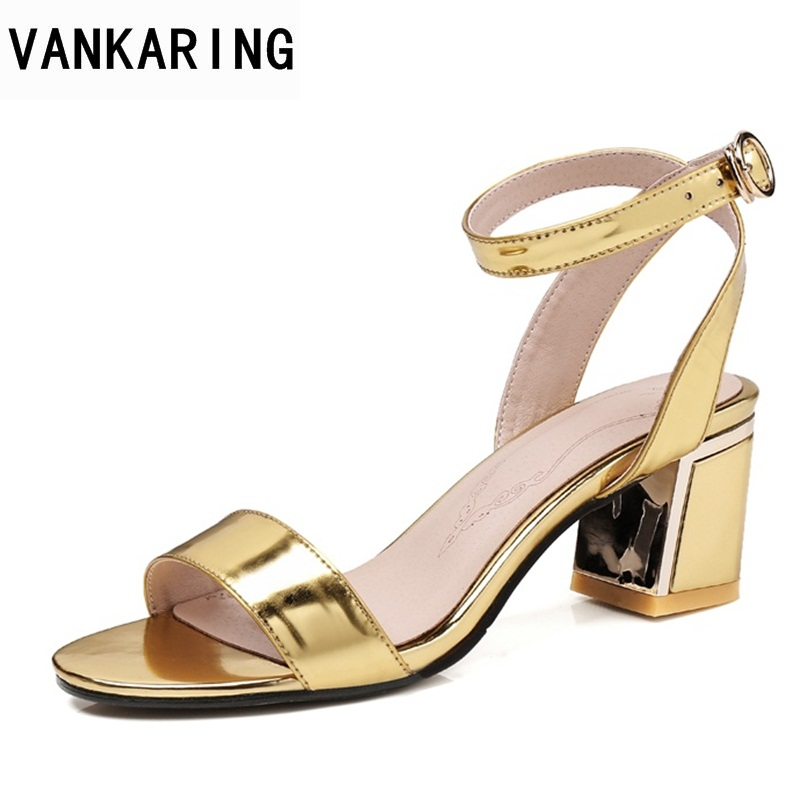 VANKARING best sellers 2018 new gold silver summer leather sandals sexy high heels shoes woman dress party shoes big size 31-43 hee grand gold silver high heels 2017 summer gladiator sandals sexy platform shoes woman casual shoes size 35 43 xwz4075