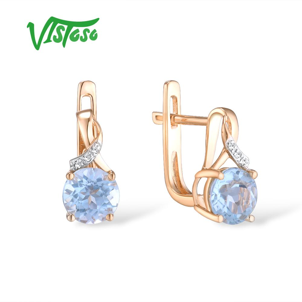 Женские Золотые сережки с бриллиантами VISTOSO, розовое золото 14 к 585 пробы, с синим топазом, свадебные ювелирные украшения из драгоценных камне...
