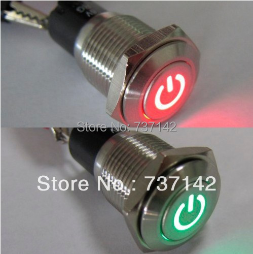 16mm 12V Car Auto Red-Green LED Metal Switch Latching Push Button ON/OFF(PM162F-11ZDT/R-G/12V/S/IP67 with power symbol,CE,ROHS) bqlzr dc12 24v black push button switch with connector wire s ot on off fog led light for toyota old style