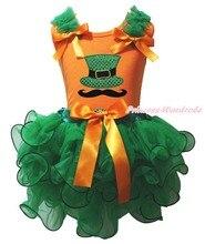 Святого патрика оранжевый Top Hat усы зеленый девушка лепесток юбка одежда NB-8Year