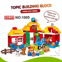 123PCS Happy Farm Big Size Building Blocks Sets Happy Zoo With Animals For Kids City DIY Toys Compatible LegoINGs Duplos figures