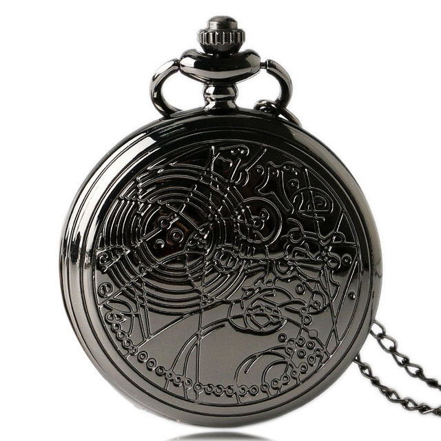 Cool Retro Black Doc. Who Design Pocket Watch for Men Women with Necklace Chain