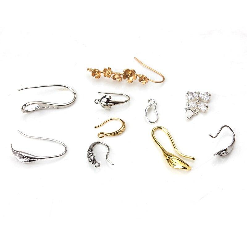 1pair Simple Fashion Flower Pattern Zinc Alloy Earring Hook Women Jewelry Diy Making Accessories