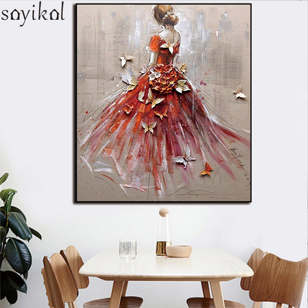 Frame Abstract Women Girl Dance DIY Painting By Numbers Home Decor Wall Art Modern Picture Bride Drawing Oil Painting Artwork