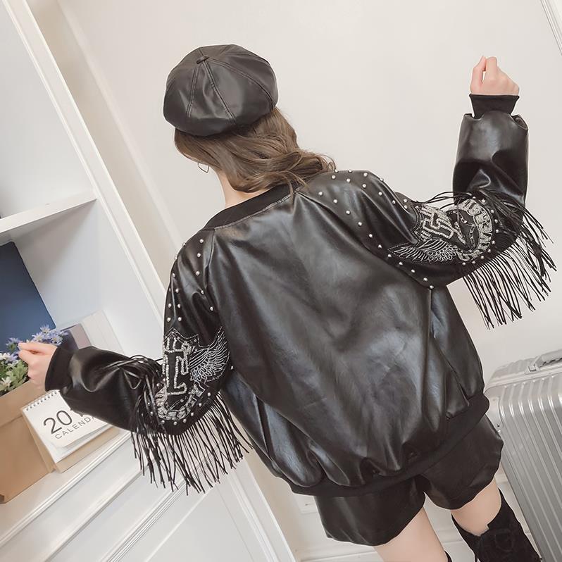 New women Rivet Embroidery Moto jackets 2019 spring autumn fashion Tassel full sleeve female Faux   Leather   coats tops gx919