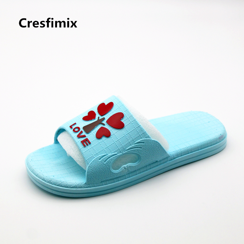 Cresfimix women casual spring & summer eva blue slippers lady cute indoor & bathroom slides female soft & comfortable slippers cresfimix women cute spring