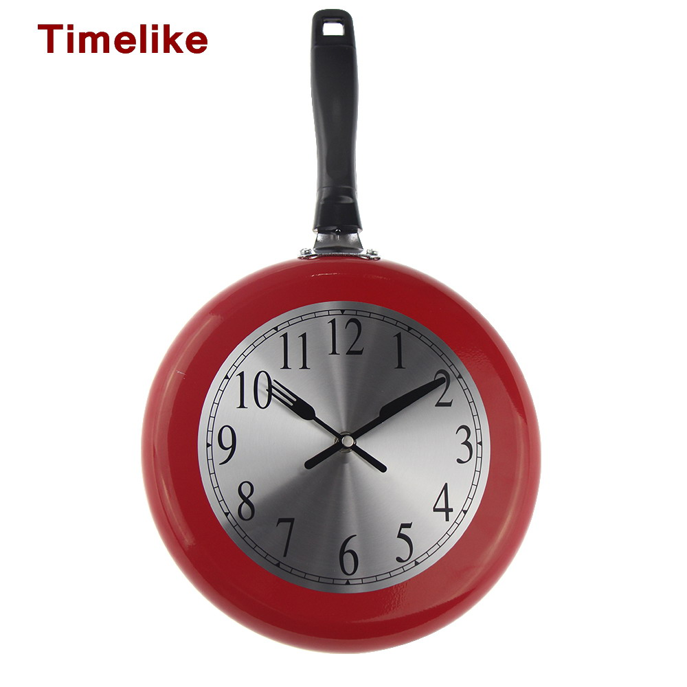 2018 New Frying Pan Wall Clock Citchen 10 Inch Creative Metal Wall Watch Saat Home Decor Pistola De Airsoft for Home Decoration