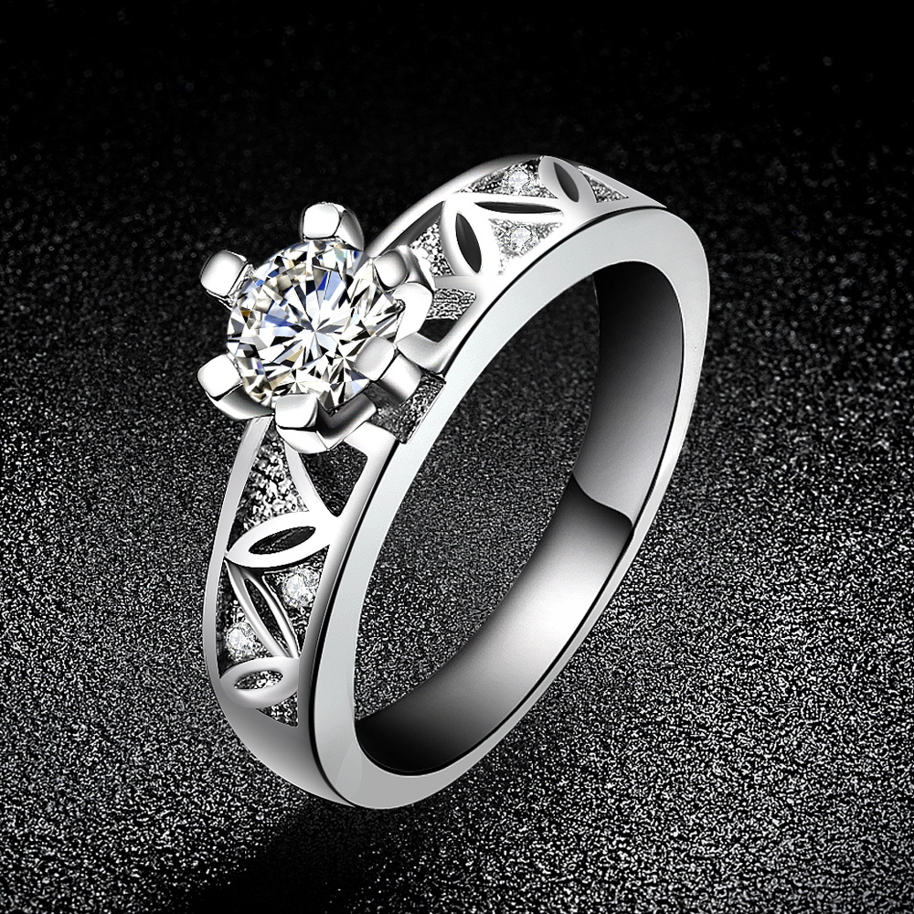 Solid 925 Sterling Silver Ring Jewelry 0.5 Carat Cubic