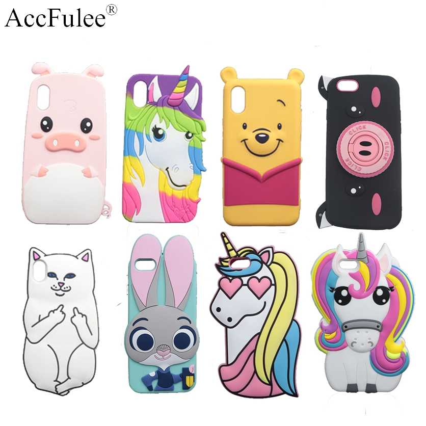 "3D Cartoon Cat Case For iPhone X XS MAX XR 4 4S 5S SE 5C 6 6S 7 8 Plus 5.5"" Cover  Bear Bunny Pig Horse Phone Bags"
