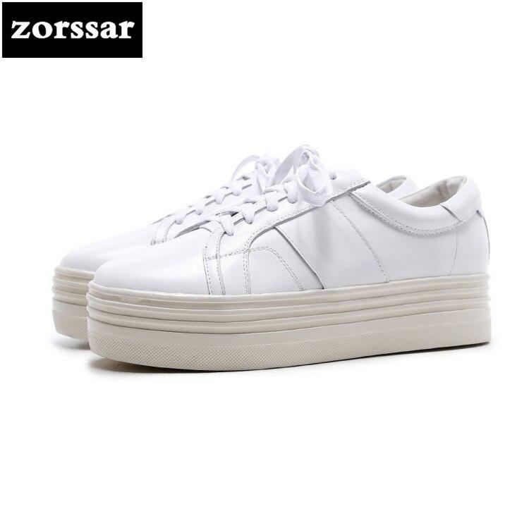 Casuales Moda 2018 Marca Zapatillas Zapatos Plataforma Mujer Blanco Deporte Primavera Mocasines De Mujeres Las Nueva Otoño Cuero Genuino {zorssar} dYf6n1x1