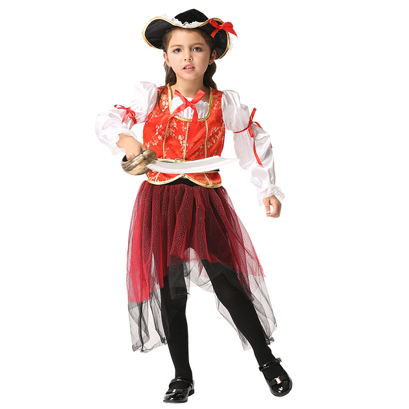 Kids pirate cosplay dance performance costumes suit for kid lace design bowknot belt decoration cute princess girl dress women s kung fu tai chi martial arts suit wushu wing chun performance costumes