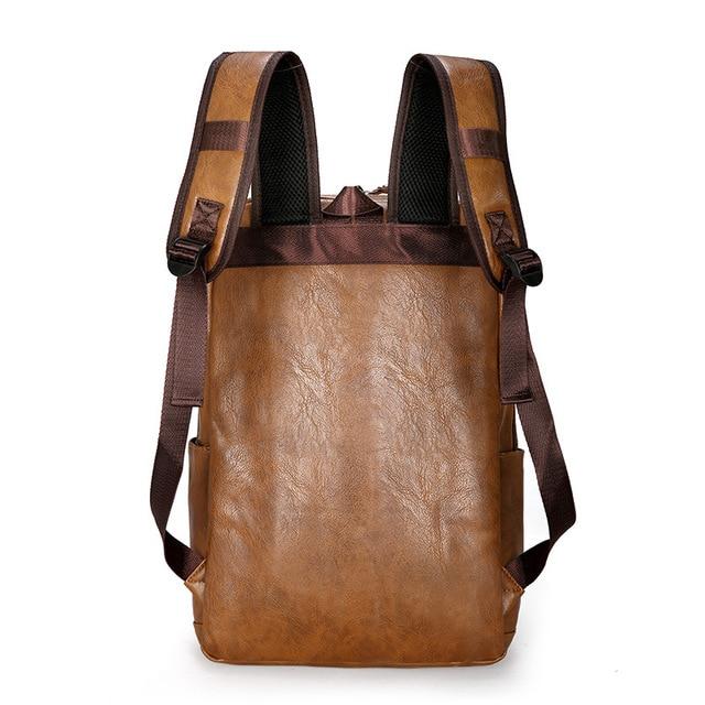 Fashion Men Backpack Waterproof PU Leather Travel Bag Man Large Capacity Teenager Male Mochila Laptop Backpacks 1