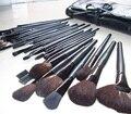 15 pçs/set Profissional Cuidados Faciais Escovas da Composição Cosmetic Set Kit Caso de Couro Preto Make Up Brushes