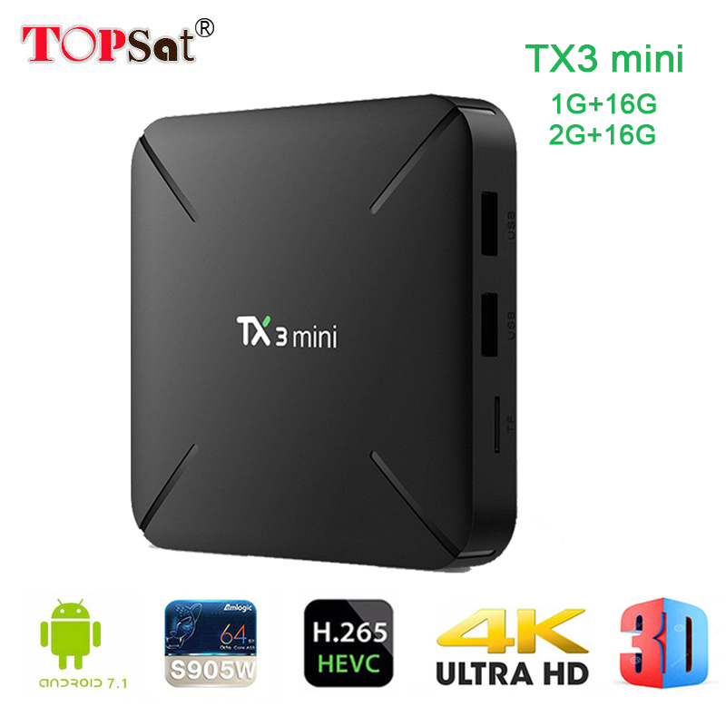Tanix TX3 mini boîtier tv Android 7.1 set top box Quad Core Amlogic S905W ROM 4 K WiFi 2G DDR3 16G 4 K HD lecteur multimédia boîtier de smart tv