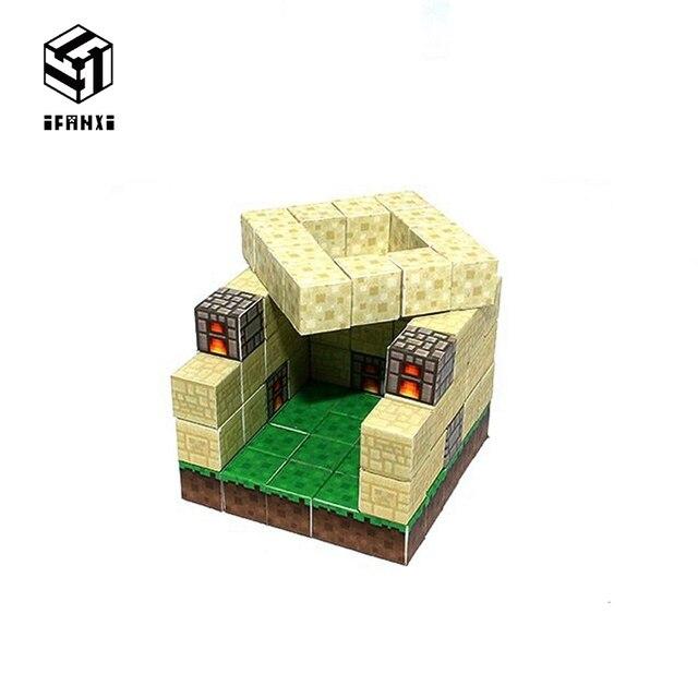 Minecraft Magnetic Building Blocks Models Bricks Hand Paste Compatible With Lego DIY Brain Toy Hardcover-Sandstone Workshop Set