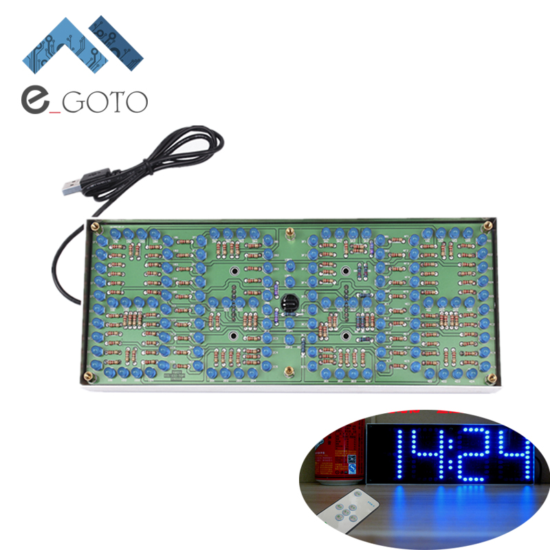 ECL 132 DIY Kit Blue Clock Screen Display Kits Electronic Suite With Patch Remote Control