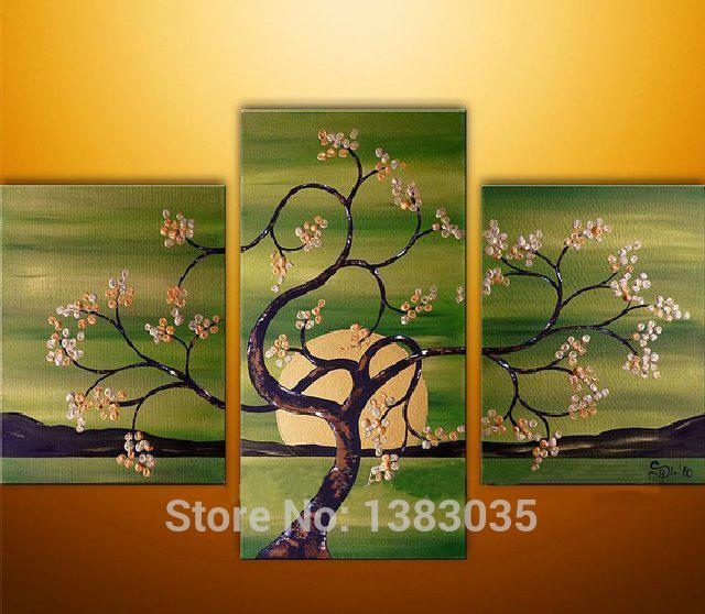 Hand Painted Abstract Tree Flowers Paintings Sunset Landscape Wall ...