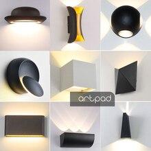 Artpad Modern Indoor Outdoor Waterproof Wall Lamp AC220V Black/White Dimmer LED Stair Light for Bathroom Hotel Hallway Lighting