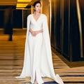 Red Carpet Pageant Celebridade Vestidos Kaftan pescoço V Sexy Branco Com Capa manto Elegante Longo Formal Dubai Vestidos de Noite