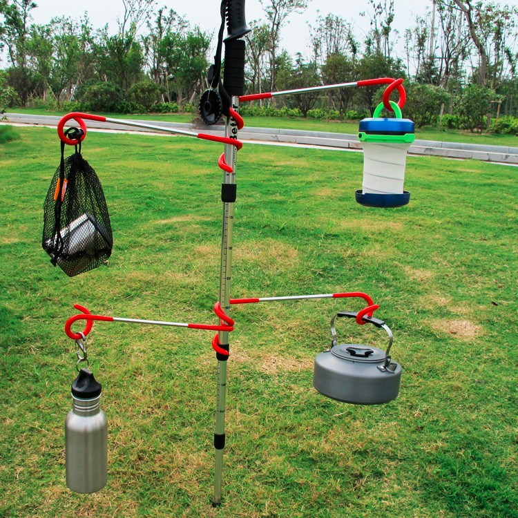 2way Lantern Arm Holder for Tent Poles Multi Uses Camping Hook Outdoor Fishing