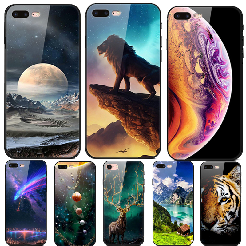 Starry sky For iphone 8 plus Case Tempered glass hard Back Cover iphone8 plus casing For iphone 8plus Animal Glass Phone case