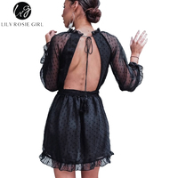 Lily Rosie Girl Sexy Backless Mesh Women Black Dress Long Sleeve 2017 Autumn Mini Dresses Loose