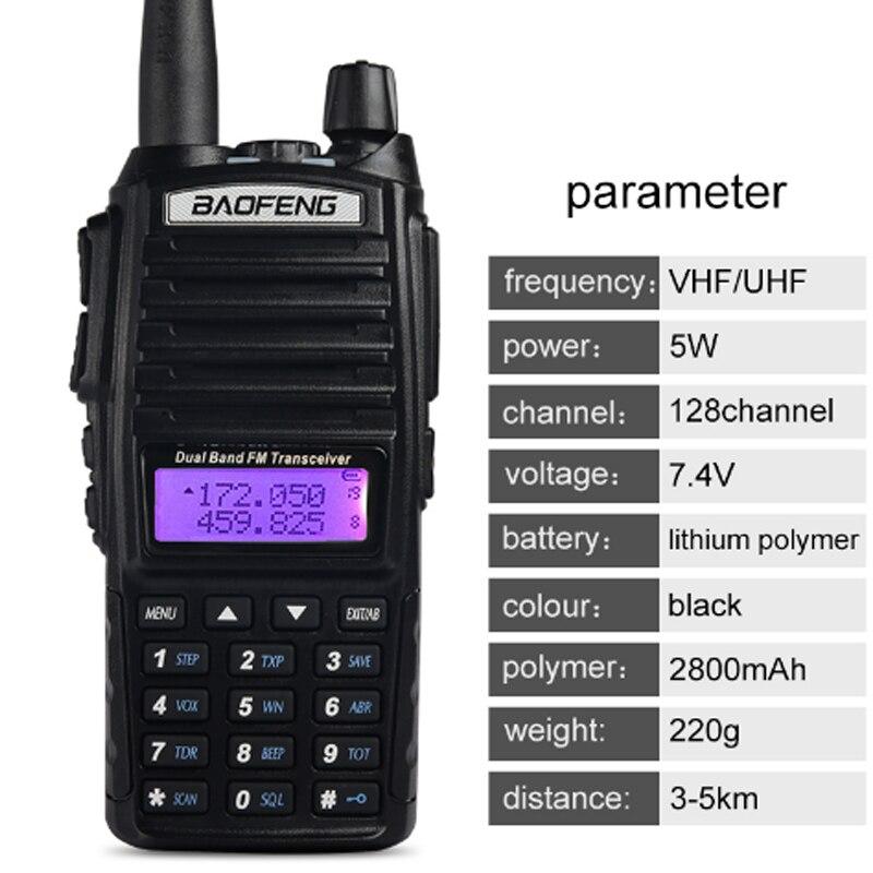 2 pièces baofeng uv-82 8 W portable talkie-walkie longue portée 10 km vhf/uhf bi-bande jambon radio station uv 82 émetteur-récepteur de chasse - 2