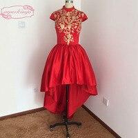 Настоящая фотография Пром платья Кружева Золото красная атласная высокой передней и нижней части спины атласная Короткие вечерние платья