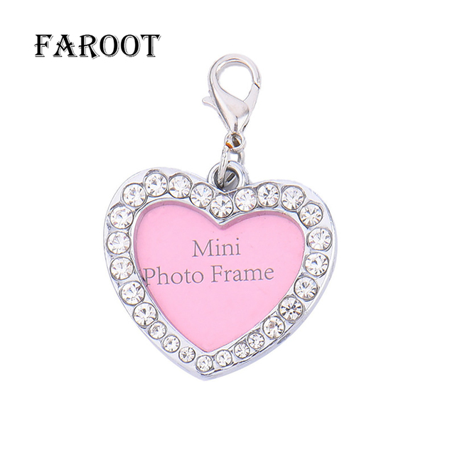 2018 Newest Hot Mini Photo Frame Pet Tags Dog Necklace Bling Bone