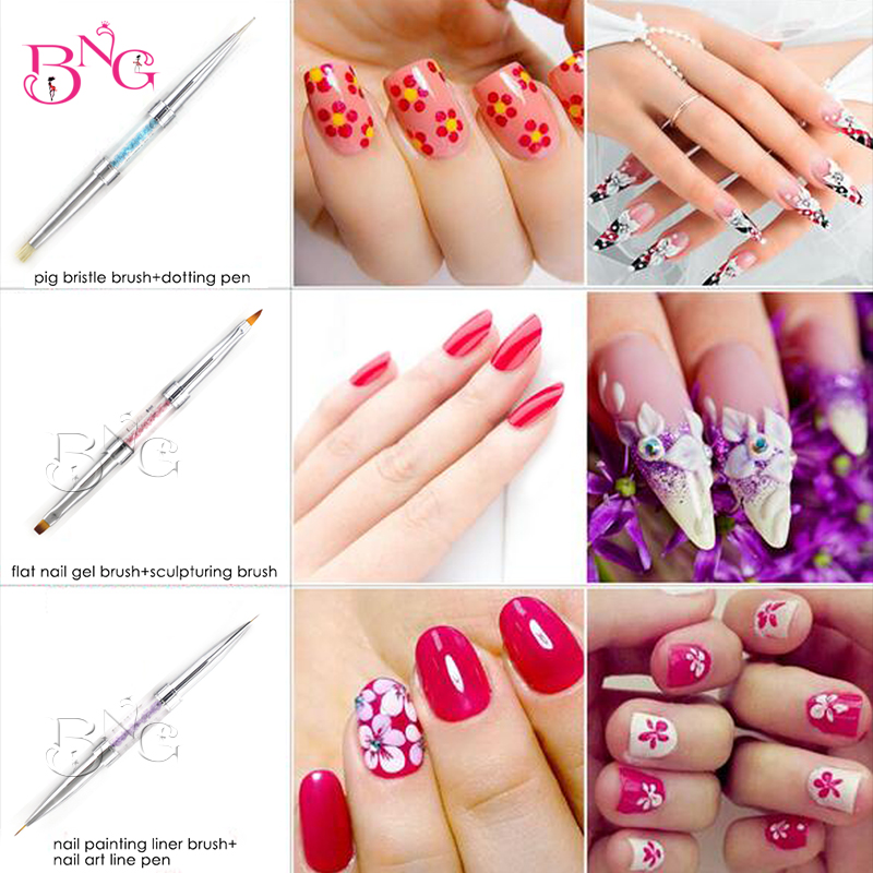 BNG Double ended Nail Brushes UV Gel Polish Painting Liner ...
