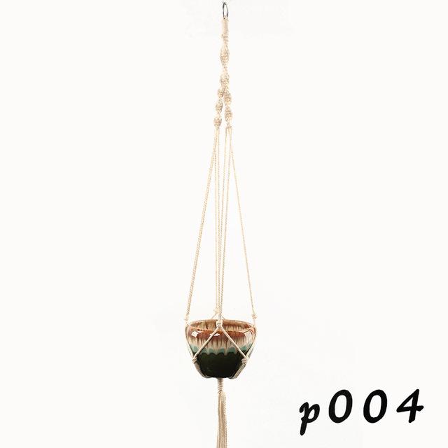Macrame Plant Hanger Cotton Rope Indoor Outdoor Hanging Planter Basket Net Pocket Home & Garden Decoration G0007