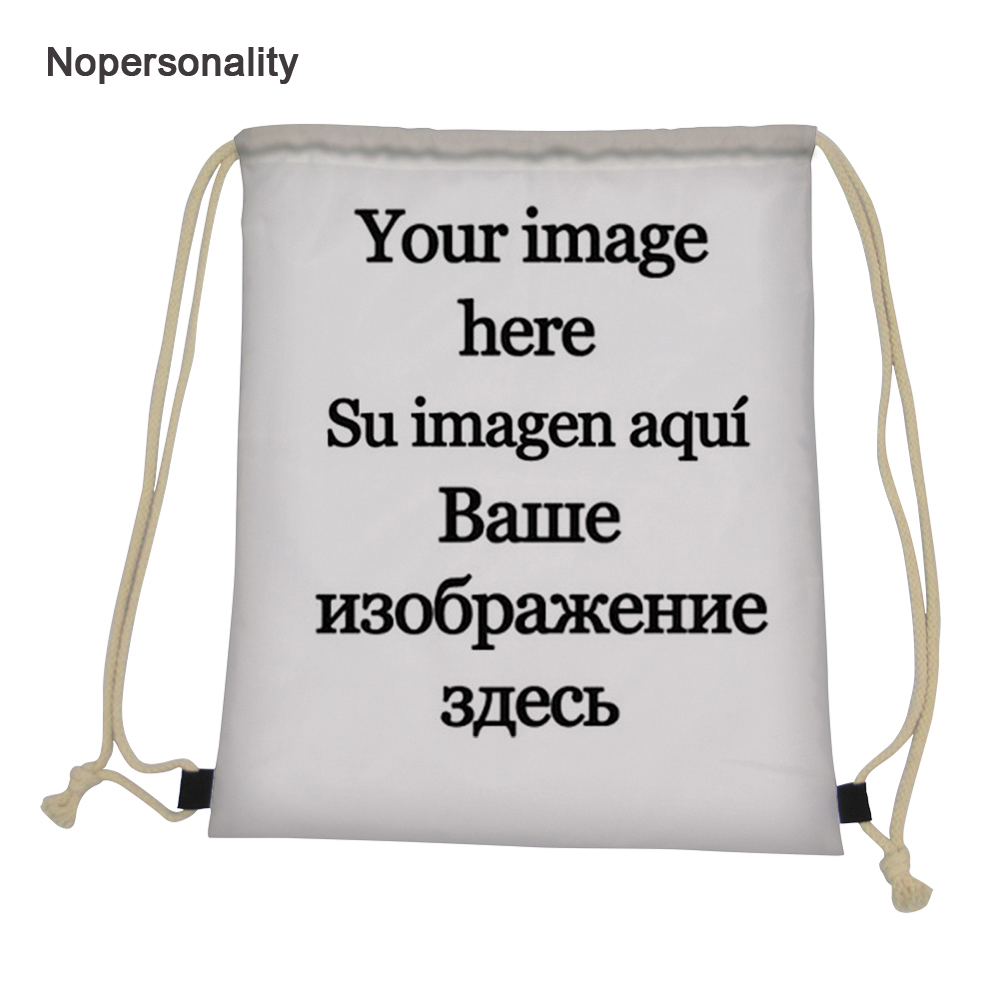 Customize Your Image Logo Drawstring Bag For Women Portable Kids Travel Storage Bag Daily Cinch Sack School Backpacks Mochila